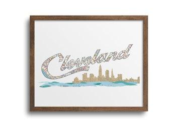 Cleveland Ohio Skyline Poster | Notecards - Cleveland Script Sign, Cleveland Skyline Art Print, Cleveland City Art, Cleveland Cityscape