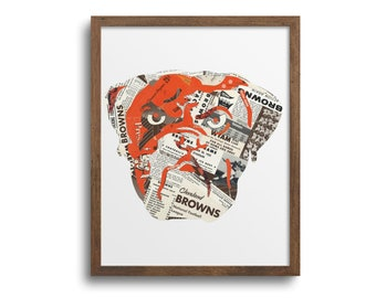 Cleveland Browns Dawg Poster | Notecards - Cleveland Football Poster, Browns Art Print, Father's Day Gift, Football Wall Art