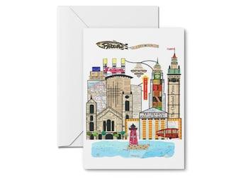 Cleveland Skyline Notecards - Cleveland Cityscape, Cleveland Ohio Cards, Cleveland Skyline, Cleveland City Cards, Blank Cards