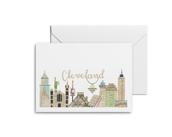 Cleveland Skyline Notecards - Cleveland Cityscape Cards, Cleveland Cards, Cleveland Chandelier, Cleveland Playhouse Square