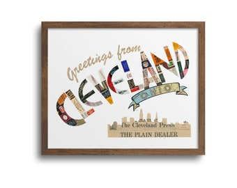 Greetings from Cleveland Prints | Notecards - Cleveland City Art, Cleveland Ohio Poster, Cleveland Skyline Print, Cleveland Skyline Cards