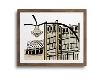 Cleveland Playhouse Square Prints | Notecards - Cleveland Poster, Cleveland Ohio Art, Cleveland Landmark, Playhouse Square
