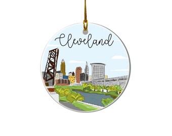 Cleveland Skyline Ornament - Holiday Ornament, Cleveland Skyline, Cleveland Ohio, Christmas Ornament, Cleveland Cityscape, Christmas Gift