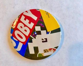 """3"""" magnet- obey, space invader design"""