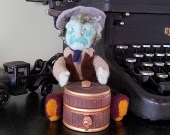 OOAK Western Jewelry Box - Whiskey Barrel Ring Dish - Keepsake Box - Treasure Box - Needle Felted Cowboy