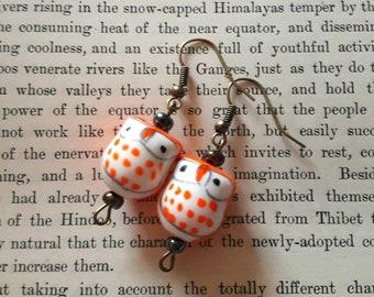 Orange owl earrings