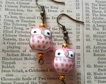 Pink owl earrings