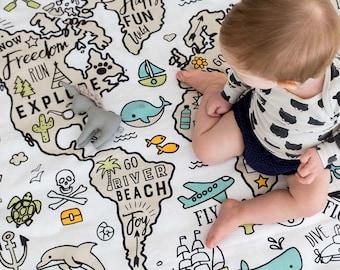 Organic Baby Muslin Wrap / Swaddle / World Explorer / Certified Organic Cotton / Unisex Baby Gift / New Born Baby / Blanket / Rug