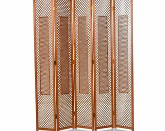 081381e4b927 Mid-Century Five Panel Teak Folding Screen Room Divider