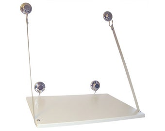 Budget Window Desk/Shelf attaches to window with heavy duty suction cups; Kit includes all parts EXCEPT WOODEN BOARD;Low Int'l shipping cost