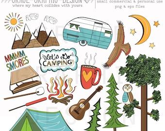 CAMPING CLIPART Camper Clipart Nature Digital Illustrations Instant Download Eps Summer Camping Set Paper Pack