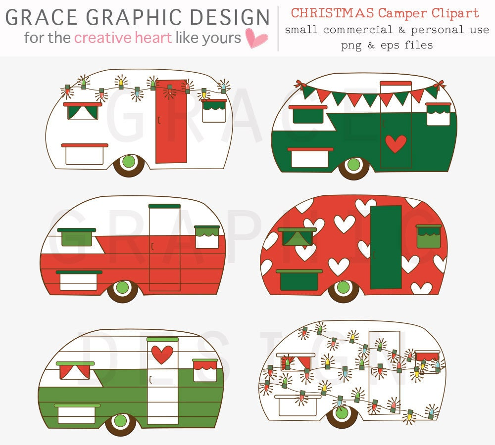 Christmas Clipart Set Retro Camper Clipart Commercial Use | Etsy