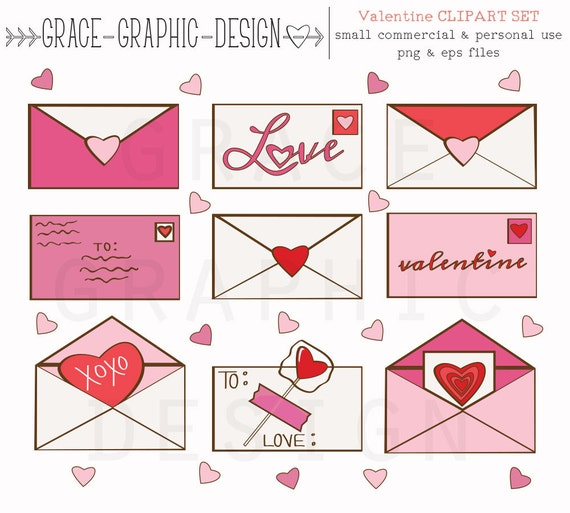 Cute Valentine S Day Clipart Valentine Letter Clipart Etsy