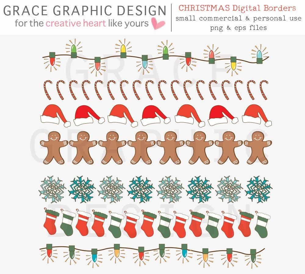 Christmas Digital Border Clipart Set Digital Scrapbooking Etsy