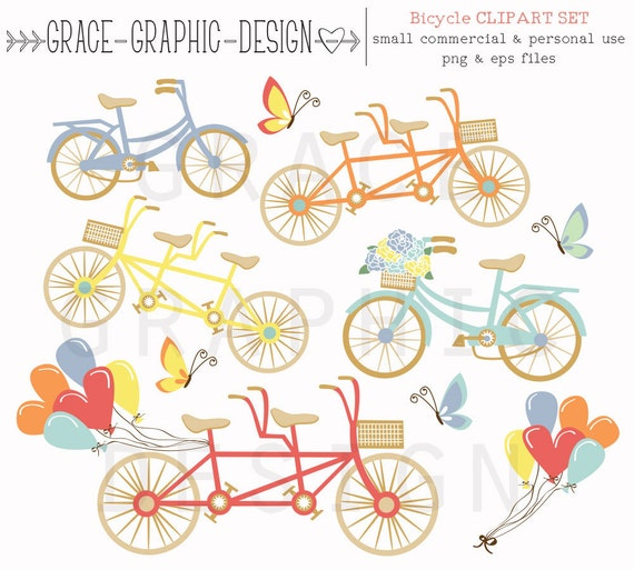 Clipart Bike Tandem Store Balloon Butterfly Commercial Use From GraceGraphicDesign