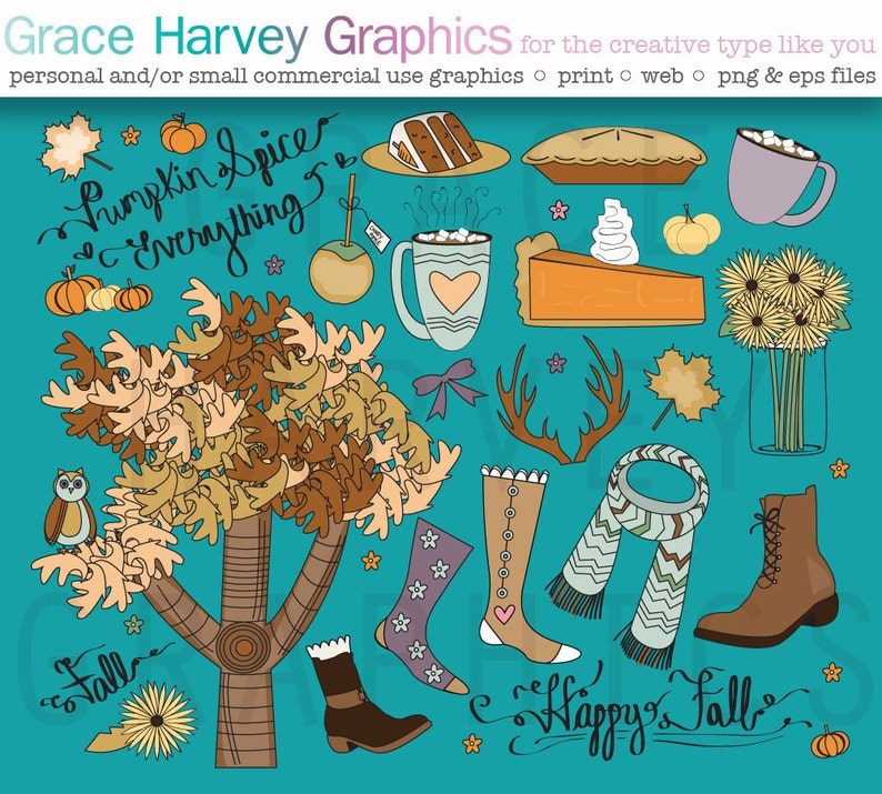 EPS and PNG files small commerical or personal use Fall Clipart Hand Drawn Thanksgiving Clipart Set