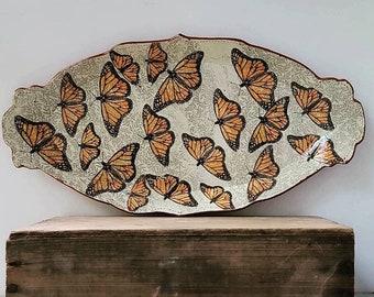 "Monarch migration - 16""x7"" hand decorated ceramic platter"
