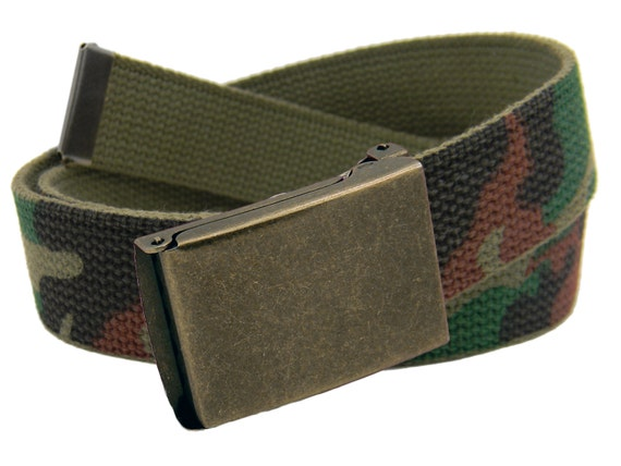 "4 Canvas Military Web Belt 1.25/"" 6 Finishes /& 12 Sizes to Pick From 43 Colors"