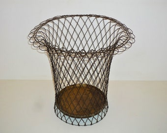 new style 3f549 b7718 Antique French wire waste paper Office basket wastepaper bin 1940s  1950s Vintage  retro Trash Can