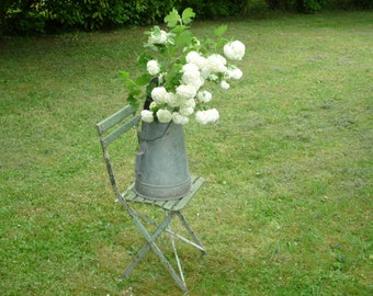 Large Antique French Zinc Coal Scuttle Coal Holder - French country cottage decor