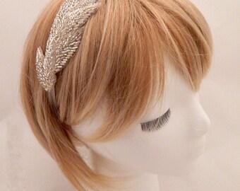 The Helen - silver goddess headband, silver leaf headband, champagne head piece, beaded leaves hair, silver wedding hair, goddess costume