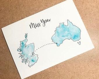 Miss you card, long distance love, long distance card, missing you, long distance relationship
