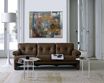 Original paintig by Juanma Pérez. Abstract composition.  Oil and mix media on line.