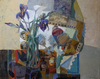 Iris. Original mixed media, collage and oil painting  by Juanma Pérez. 42,5 x  35,5 inch.