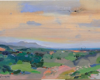Mediterranean Landscape. Original painting by Juanma Pérez. Oil on solid pine. 10  x 14in.