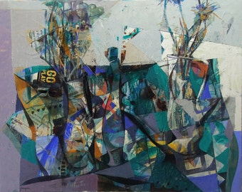 Original paintig by Juanma Pérez.  Emerald & Geometry Still life. Collage and Oil on canvas 28,7 x 36,2 in