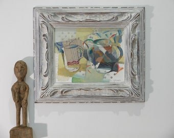 Cubist cups. Oil, acrylic & collage on wood. Antique Frame on wood. Original  by Juanma Pérez.