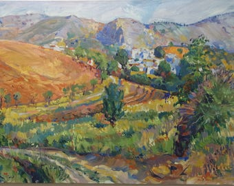 Spanish village. Oil landscape on canvas, by Juanma Pérez.