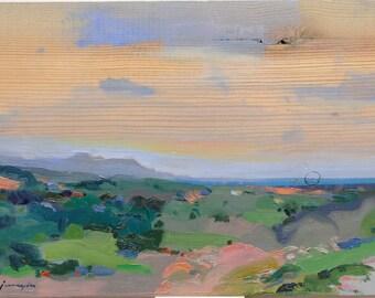 Mediterranean Landscape. Original painting by Juanma Pérez. Oil on solid pine. 10  x 14in.