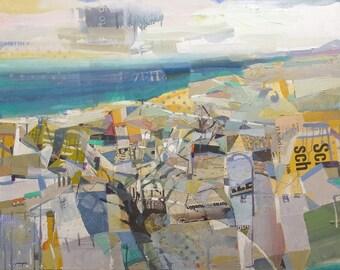 "Mediterranean Sea and Tree. ""Costa Blanca (White Coast)"". Oil landscape on canvas, by Juanma Pérez, 36,2 x 28,7 in."