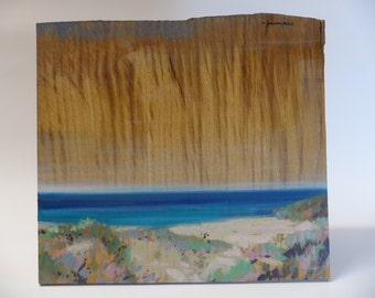 Delicate Oak skyline over the sea. Original  wooden painting by Juanma Pérez. oil on solid oak. 11,4  x 10,2  in.