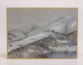 Snowed landscape.  Painting by Juanma Pérez. Oil on plywood.