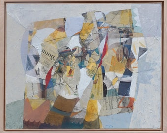 Silver Still life. Original mixed media, collage and oil painting  by Juanma Pérez. 42,5 x  35,5 inch.