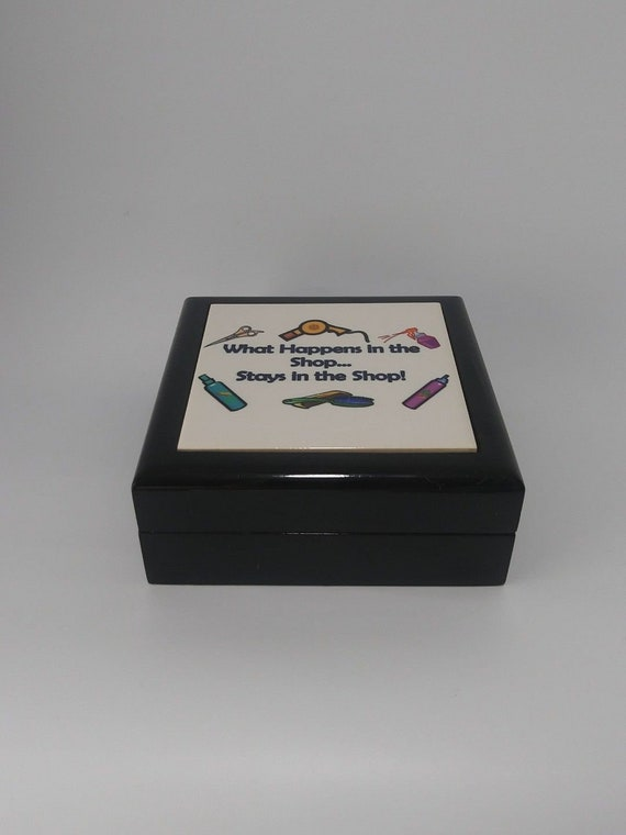 Lacquered Black Wood Keepsake Box What Happens in the Shop Man Cave Cufflinks Grammazon