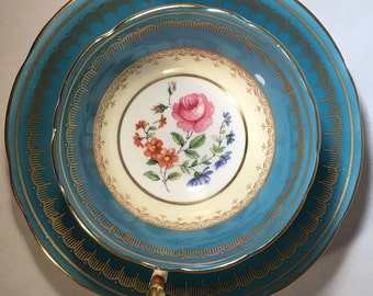 ANYSLEY Cup & Saucer, Turquoise w/ Center Floral, 1930s