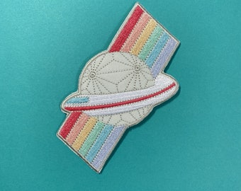 Rainbow Spaceship Earth // Grand and Miraculous // Theme Park Inspired Embroidered Patch