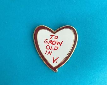 Vision Heart Pin    To Grow Old In V. Pin    Wandavision Inspired Enamel Pin