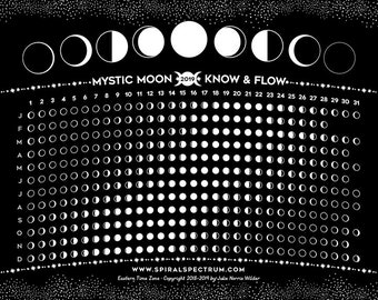"""2021 Simple Moon Phase Chart 8"""" x 10""""   Lunar Phase Calendar   Phases Of The Moon - Multiple Time Zones"""