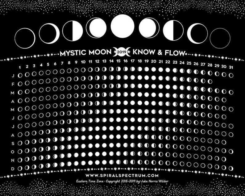Moon Phases Calendar.2019 Simple Moon Phase Chart 8 X 10 Lunar Phase Calendar Phases Of The Moon Multiple Time Zones