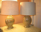 Pair of Opalescent Fish Lamps with Shades from the Illumination Station