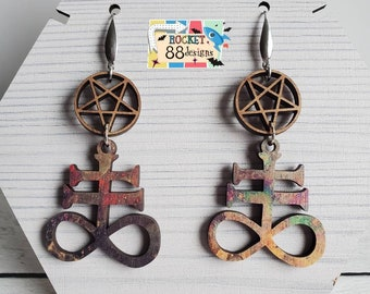 Satanic Cross Inverted Pentagram Wood Dangle Earrings Laser Cut Jewelry 666 Hail Satan Devil Evil Halloween