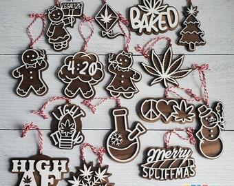 Funny Stoner Walnut & Maple Wood Gingerbread Cookie Ornaments Weed Marijuana Pot Leaf Reefer Bong Christmas Tree Baked High AF Cannabis