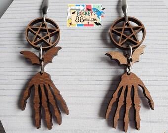 Skeleton Hand Bat & Pentagram Dark Walnut Wood Dangle Earrings Laser Cut Jewelry Evil Halloween gothic witchy vibes pentacle wicca