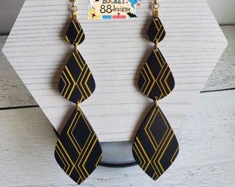 "Extra Long 5"" Black & Gold Geometric WOOD Dangle Earrings Laser Cut Jewelry Unique Gift Mid Century Retro Vintage Style Big Diamonds"