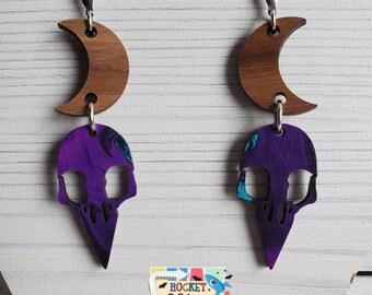Purple Moon & Crow Skull Dark Walnut Wood Dangle Earrings Laser Cut Jewelry Halloween gothic witchy vibes
