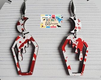 Bloody Drippy Coffin & Moon Wood Dangle Earrings Laser Cut Jewelry Creepy Halloween Blood Splatter gothic Horror Gore